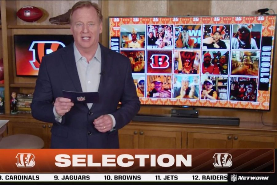 NFL+Commissioner+Roger+Goodell+announces+the+first+pick+in+the+2020+draft+from+his+basement+at+his+home.+The+Cincinnati+Bengals+selected+Quarterback+Joe+Burrow+from+LSU%2C+with+the+pick.+