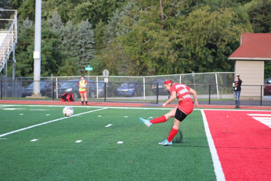 Junior Tory Valles clears the ball out of the Bulldogs' territory in a game against Mohawk on Sept. 23.