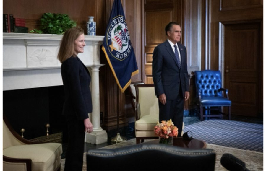 Utah Sen. Mitt Romney (R), right, is expected to vote to confirm Judge Amy Coney Barrett, left, to the Supreme Court.