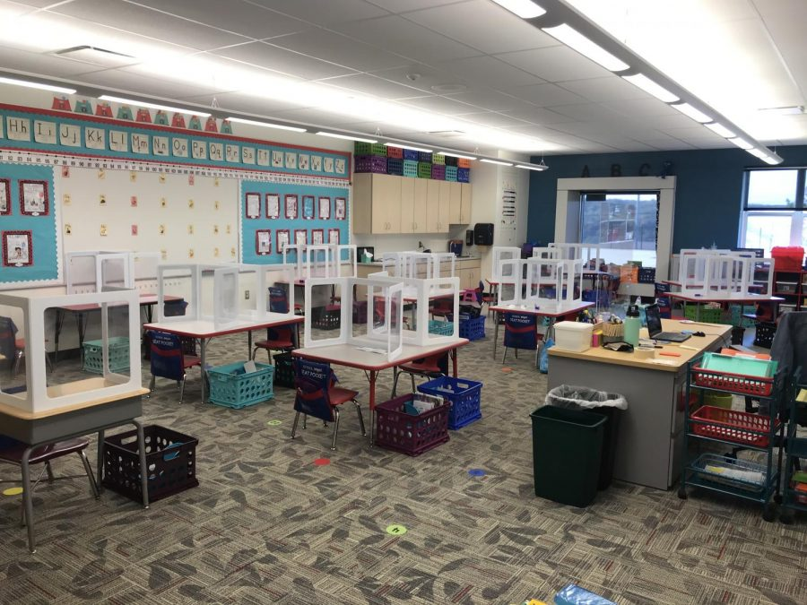 Kindergarten teacher Gena Tokar's classroom is ready for students to return safely.