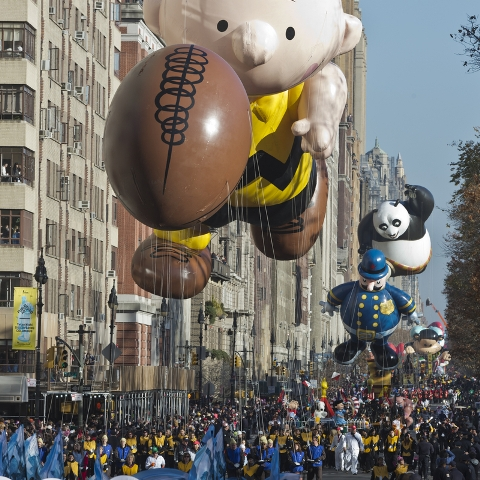 Large, tightly-packed, crowds like these will not be seen this year along the typical route of the Macy's Thanksgiving Day Parade in New York City, as COVID-19 safety guidelines have forced the parade to be broadcast on television with no physical spectators.