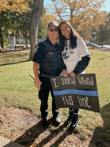 Freedom graduate Alexandra Lizzi and her father, Detective Jeff Lizzi, attend a National Police Appreciation Day celebration on Jan 9, 2020.