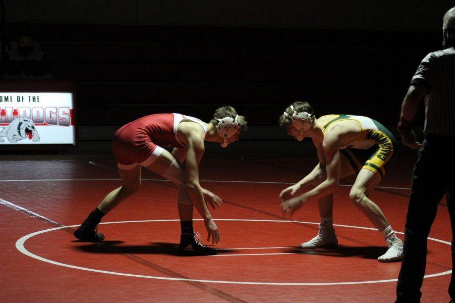 Sophomore+Matthew+Schultheis+prepares+to+take+on+his+opponent+from+Carlynton+on+Feb.+2.