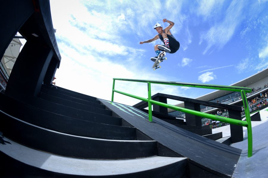 A skateboarder competes in the 2014 X Games, a national skateboarding competition.