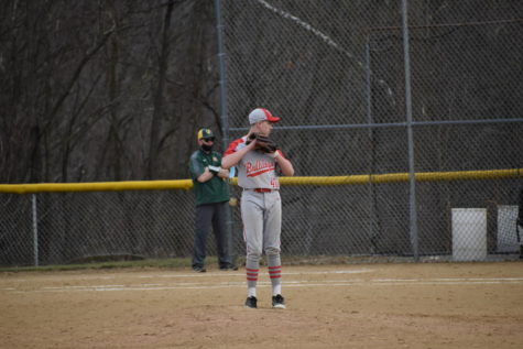 Sophomore Isaac Barry prepares to throw his pitch on March 16 at a scrimmage game against Carlynton.
