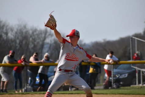 Junior Tristen Clear delivers a pitch against Beaver Falls on April 6. The Bulldogs went on to win the game, 7-6.