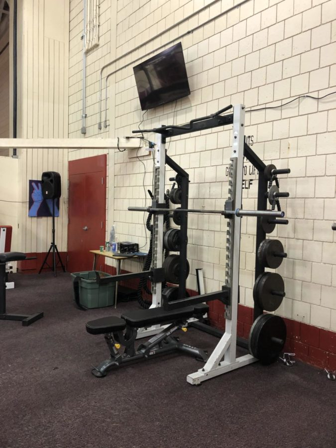 The high school weight room received many new upgrades, including  total-body resistance benches and televisions.