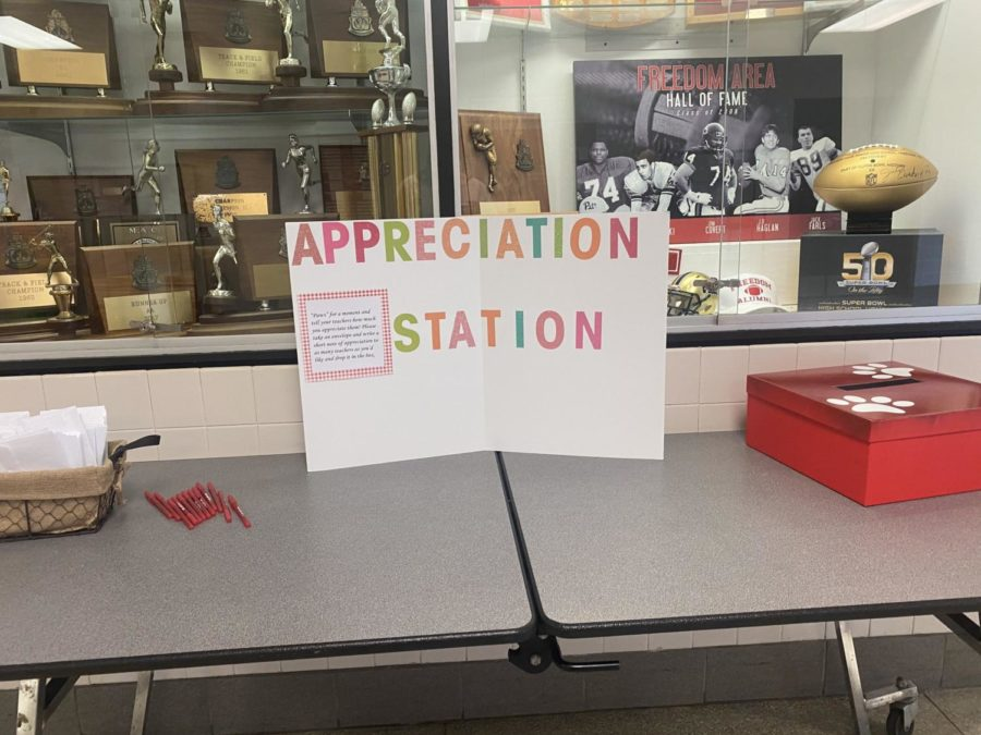 An Appreciation Station was set up in front of the cafeteria so students could write nice letters to their teachers.