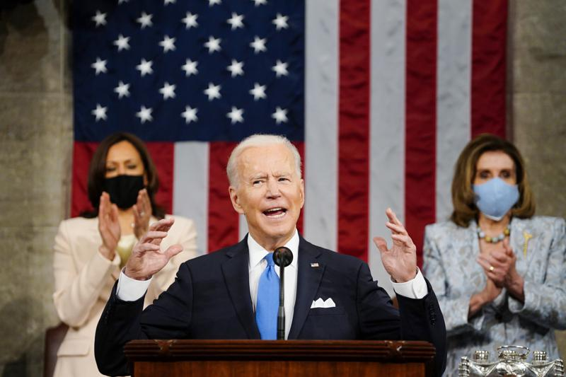 President Joe Biden addresses a joint session of Congress on Wednesday, April 28, at the House Chamber in the U.S. Capitol.