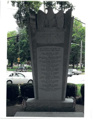 The Fallen Officer Memorial outside the Courthouse stands tall with the names of every fallen officer in Beaver County.