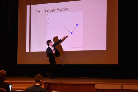 Pointing to the visual on the screen, junior Joshua Pail explains his long-term on complex pendulums.