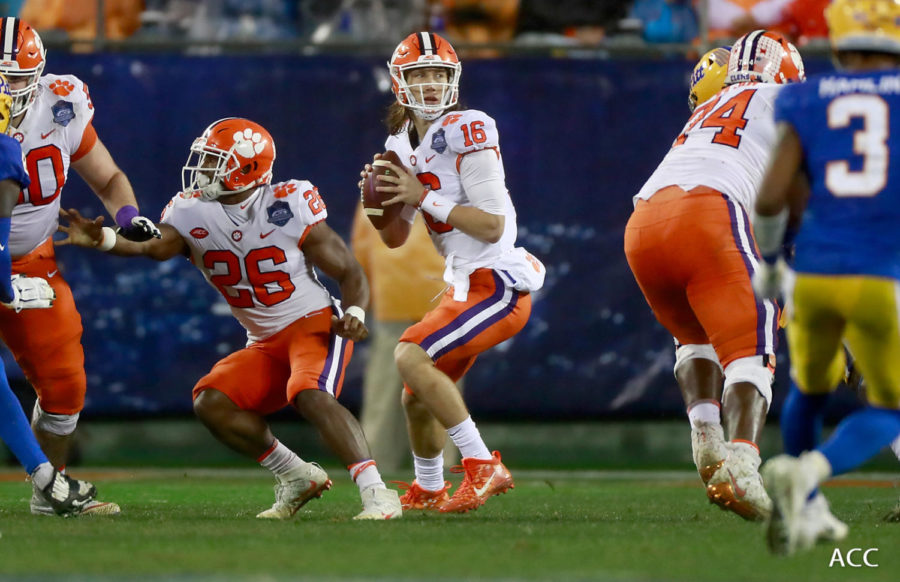 First overall pick Trevor Lawrence looks down the field getting ready to launch the ball to his receiver against Pitt on December 1, 2018, in the ACC Championship.