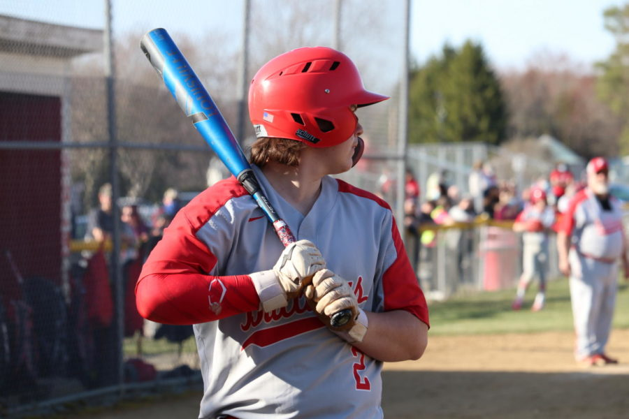Sophomore Jacob Milbert steps up to the plate and waits for the perfect pitch.