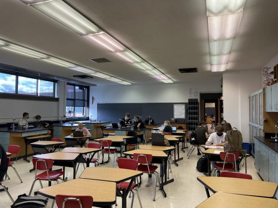 Ms.Circle's ninth grade PLT sits masked in the classroom completing schoolwork on  Wednesday, Sept. 22.